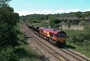 Llanwern steelworks - Steel coil and slab for Llanwern steelworks, being hauled by EWS Class 66