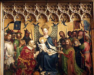 Stefan Lochner - Dombild Altarpiece (or Altarpiece of the City's Patron Saints or Adoration of the Magi), centre panel. Tempera on oak, 260 × 285 cm. Cologne Cathedral