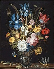 Still life with flowers in a glass berkemeyer with a lizard, frog and dragonfly on a ledge