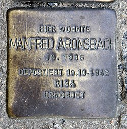Photo of Manfred Aronsbach brass plaque