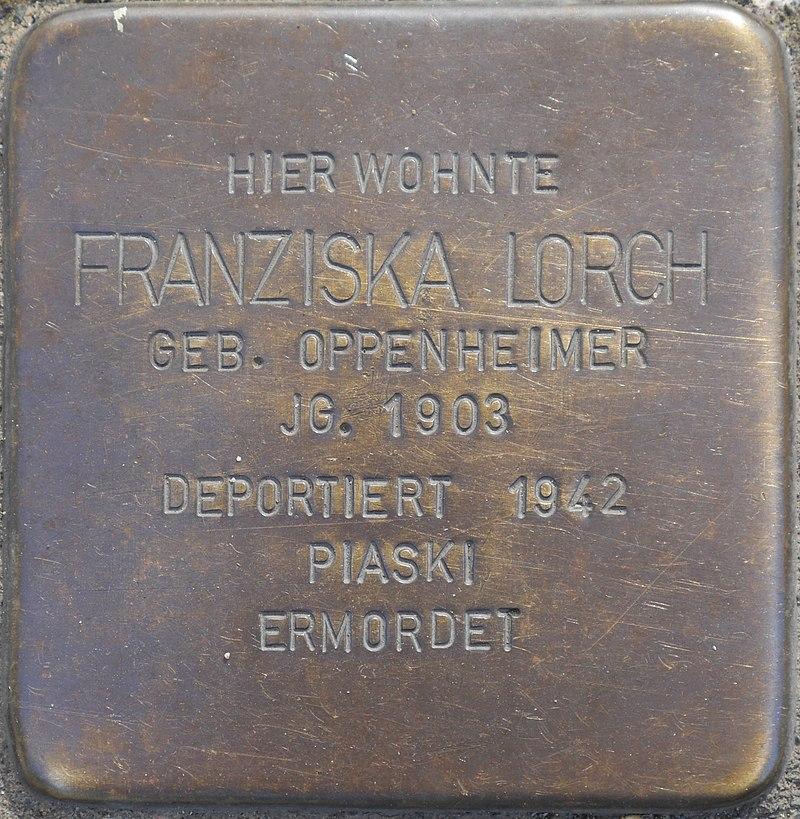Stolperstein für Franziska Lorch