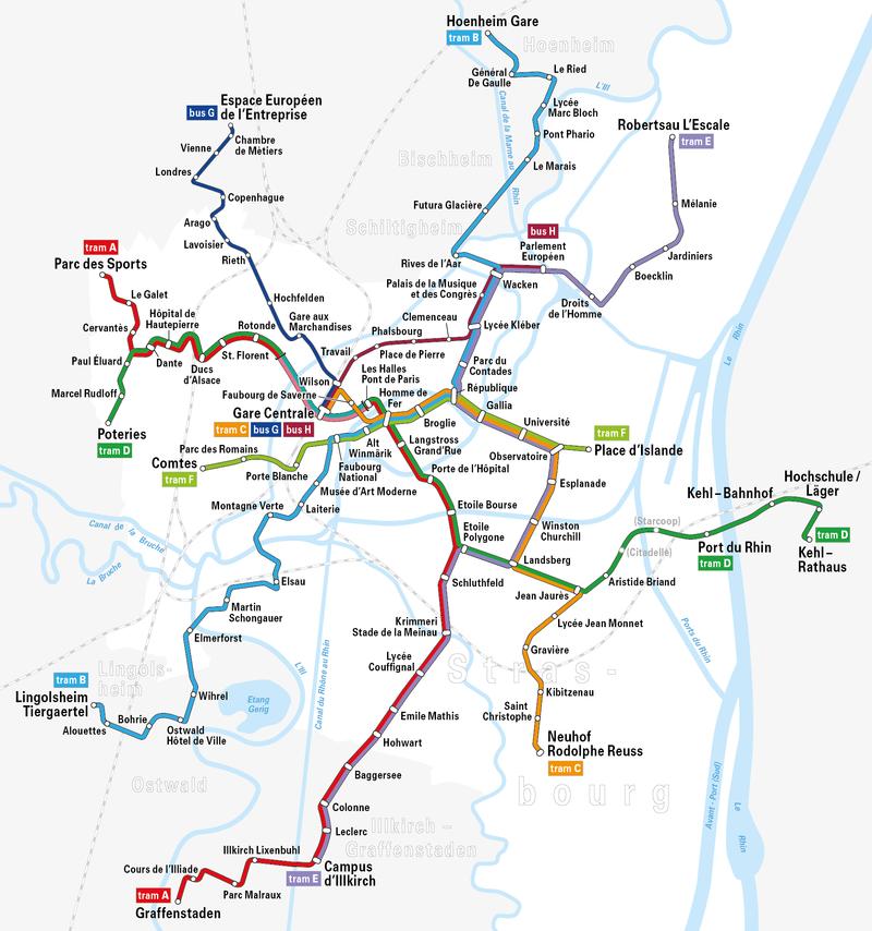 Plano de los tranvías de Estrasburgo