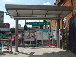 Stratford High Street DLR station - Northern entrance soon after opening