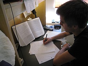 Study skills - A student of the University of British Columbia studies for his final exams using the PQRST method.