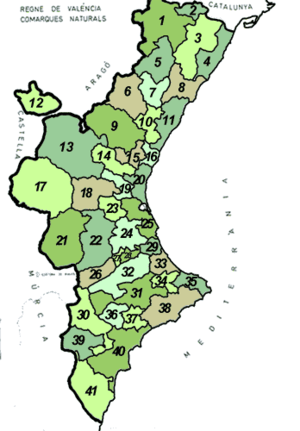 Subdivisions of the Land of Valencia purposed by Emili Beüt in 1934.png
