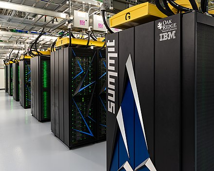 The Summit supercomputer is as of November 2018 the fastest supercomputer in the world. With a measured power efficiency of 14.668 GFlops/watt it is also the 3rd most energy efficient in the world. Summit (supercomputer).jpg
