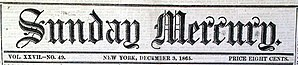 Sunday Mercury (New York) - Image: Sunday Mercury Title 1865