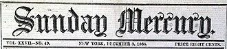 Sunday Mercury (New York) - Image: Sunday Mercury Title 1865