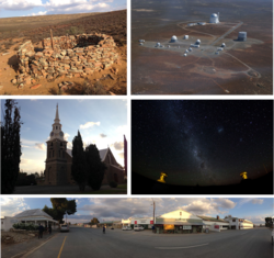 Top left: Fort Steenbok, a fortification from the Second Boer War. Top right: an aerial view of the South African Astronomical Observatory. Middle left: the main church in the town centre. Middle right: a view of the stars in the nights sky in Sutherland. Bottom: a panoramic view of the town centre facing away from the main church.