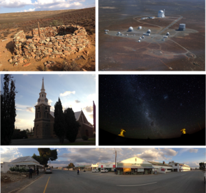 Sutherland, Northern Cape - Top left: Fort Steenbok, a fortification from the Second Boer War. Top right: an aerial view of the South African Astronomical Observatory. Middle left: the main church in the town centre. Middle right: a view of the stars in the nights sky in Sutherland. Bottom: a panoramic view of the town centre facing away from the main church.