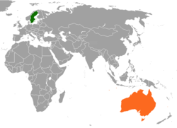 Map indicating locations of Sweden and Australia