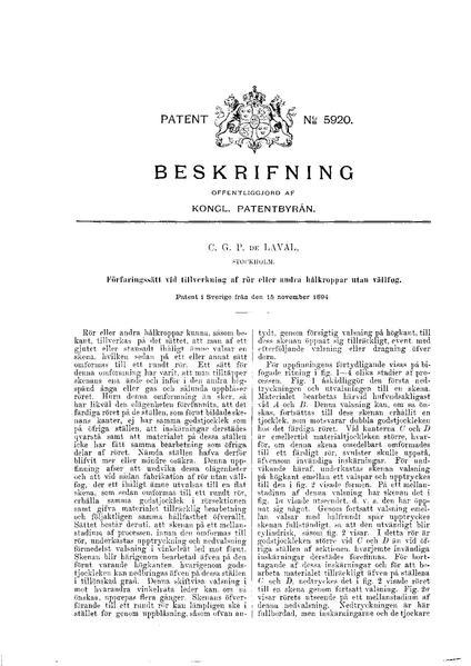File:Swedish patent 5920 Förfaringssätt vid tillverkning af rör eller andra hålkroppar utan vällfog.pdf