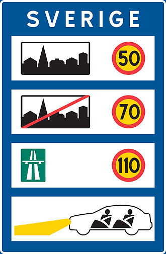 Speed limits in Sweden - Informational sign at the Swedish borders