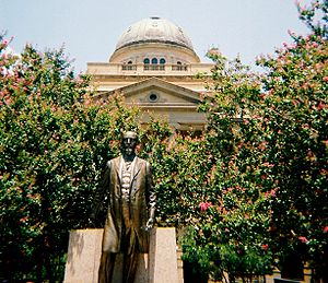 Traditions of Texas A&M University - Silver Taps is held in front of this statue of Sul Ross.  Buglers are stationed at the top of the Academic Building, in the background.