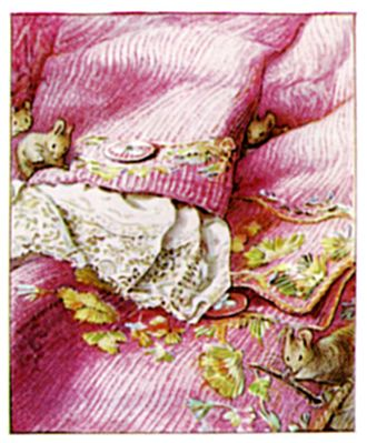 The Tailor of Gloucester - Potter visited a museum to refine her illustrations of eighteenth century dress.