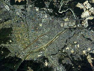 Tajimi city center area Aerial photograph.1987.jpg