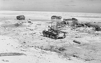 Landing Vehicle Tracked - Disabled LVTs and a Type 95 light tank on Tarawa.