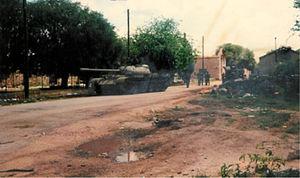 Battle of the Miljevci Plateau - RSK T-55 tank destroyed in the village of Širitovci on the Miljevci Plateau