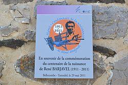 Tarendol - Plaque hommage Barjavel.JPG