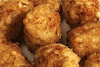 Tater tots trademarked Ore-Ida product, cylindrical pieces of deep-fried grated potatoes