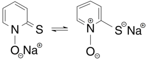 Pyrithione - Tautomerisation of the sodium salt of pyrithione (thione form on the left, thiolate form on the right)