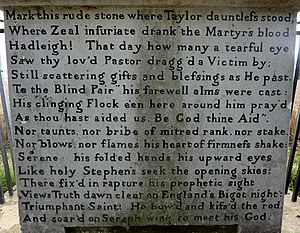 Rowland Taylor - The inscription on the 1818 Taylor Monument