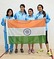 Team India won Gold medal in the Women's Squash, at the 12th South Asian Games-2016, in Guwahati on February 10, 2016.jpg