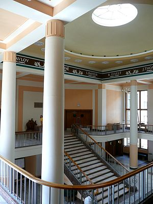 Jiří Kroha - Vestibule of Faculty of Medicine and Dentistry of Palacký University in Olomouc, Czech Republic, designed by Jiří Kroha and Václav Roštlapil, 1950–52.