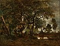 Théodore Rousseau (French - Forest of Fontainebleau, Cluster of Tall Trees Overlooking the Plain of Clair-Bois at the Edge of Ba... - Google Art Project.jpg