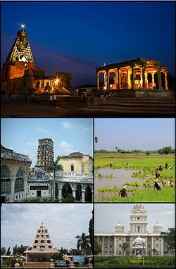 A montage image showing temple complex with temple tower in the centre, Maratha palace, paddy field, Rajarajachola Mandapam and Tamil University.Even though Thanjavur is 11 largest city In actual case Thanjavur is the 7th biggest city in Tamilnadu.The city's real size is hidden due to non extension of corporation limit