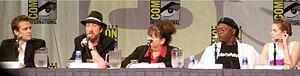 The Spirit (film) - Gabriel Macht, Frank Miller, Deborah Del Prete, Samuel L. Jackson, and Jaime King at the 2008 Comic-Con promoting the film