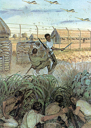 Painting of a guerrilla armed with a bolo knife disarming a Japanese sentry of his rifle during the raid at Los Banos The American Soldier 1945.jpg