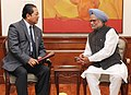 The Chief Minister of Mizoram, Shri Pu Lal Thanhawla calling on the Prime Minister, Dr. Manmohan Singh, in New Delhi on February 25, 2013.jpg