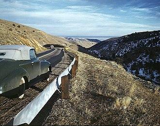 Andreas Feininger - View along US 40 in Mount Vernon Canyon, Colorado, 1942, a photograph taken when Feininger was an employee of the Office of War Information (OWI)