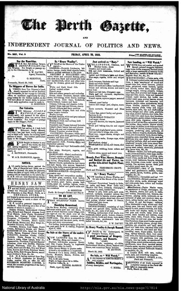 File:The Perth Gazette and Independent Journal of Politics and News 23 April 1852.djvu