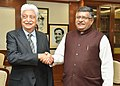 The Philanthropist & Chairman of Wipro, Shri Azim Premji meeting the Union Minister for Electronics & Information Technology and Law & Justice, Shri Ravi Shankar Prasad, in New Delhi on March 09, 2017.jpg