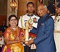The President, Shri Ram Nath Kovind presenting the Padma Shri Award to Smt. Vijayalakshmi Navaneetha Krishnan, at the Civil Investiture Ceremony-II, at Rashtrapati Bhavan, in New Delhi on April 02, 2018.jpg