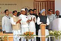 The Prime Minister, Dr. Manmohan Singh laying the foundation stone for modernization & expansion of Bokaro Steel Plant at Ranchi, Jharkhand on April 22, 2008 (1).jpg