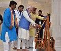 The Prime Minister, Shri Narendra Modi at the Bhim Birthplace Memorial (Bhim Janma Bhoomi), in Mhow, Madhya Pradesh on April 14, 2016. The Chief Minister of Madhya Pradesh, Shri Shivraj Singh Chouhan is also seen.jpg