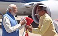 The Prime Minister, Shri Narendra Modi being received by the Chief Minister of Madhya Pradesh, Shri Shivraj Singh Chouhan, on his arrival at Indore Airport on April 14, 2016.jpg