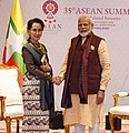The Prime Minister, Shri Narendra Modi meeting the State Counsellor of Myanmar, Ms. Aung San Suu Kyi, on the sidelines of the 16th India-ASEAN Summit (1).jpg