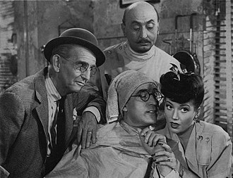 The Sin of Harold Diddlebock - Jimmy Conlin, Harold Lloyd, Torben Meyer, and Arline Judge in the film