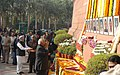 The Speaker, Lok Sabha, Shri Somnath Chatterjee paying homage to the martyrs of the Parliament attack, in New Delhi on December 13, 2008.jpg