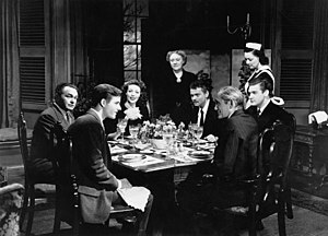 The Stranger (1946 film) - Left to right: Edward G. Robinson, Richard Long, Loretta Young, Martha Wentworth, Orson Welles, Philip Merivale, Byron Keith and an unidentified actress in The Stranger (1946)