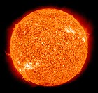False-color photo of the Sun as seen in ultraviolet light