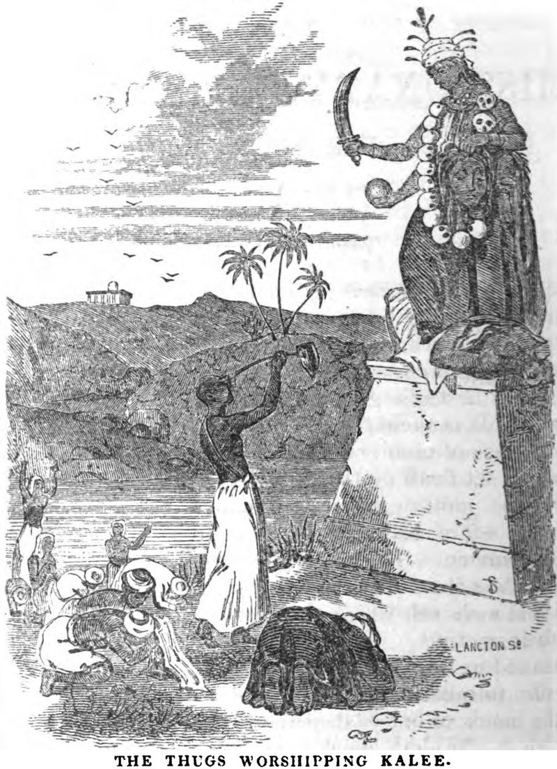 Drawing of two men worshipping before a statue