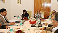 The Union Home Minister, Shri Rajnath Singh reviewing the status of implementation of the Prime Minister's Development Package (PMDP-2015) with the Chief Minister of Jammu and Kashmir, Ms. Mehbooba Mufti, in Srinagar.jpg
