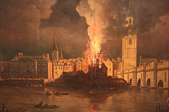 William Marlow - The Waterworks at London Bridge on Fire, 1779, by William Marlow, Guildhall Gallery, London