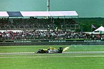The end of the day for Damon Hill, retiring while in the lead at the 1993 British Grand Prix (32873439863).jpg