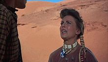 L'actriz estatounitense Natalie Wood, en una scena d'a cinta The Searchers (1956).